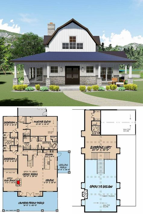 2 story modern farmhouse house plan with a sleeping loft, 3 bedrooms and bathrooms. Find a mix of traditional and contemporary design in this 3414 sq ft luxury country / mountain home, the full floor plan and blueprint at: www. Floor Plans 2 Story, Barn Homes Floor Plans, Loft Floor Plans, Barndominium Floor Plans, Pole Barn House Plans, Pole Barn Homes, New House Plans, Dream House Plans, Dream Houses