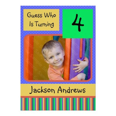 4 Year Old Birthday Party Invitations BOY