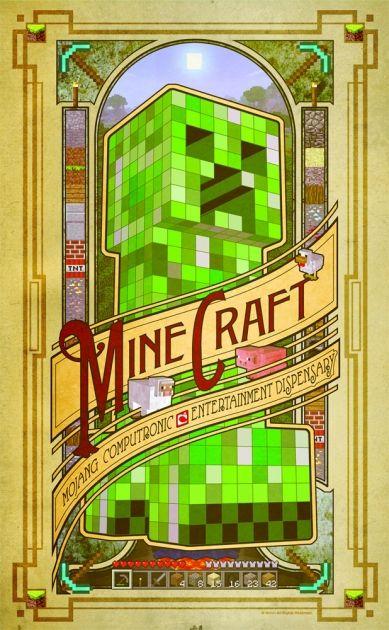 Poster Minecraft à la mode, il reprend le visuel d'un Creeper ainsi que l'environnement du jeu. #logostore #minecraft