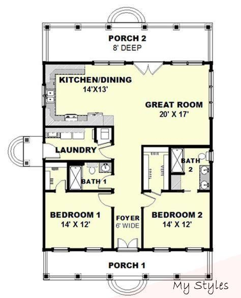 Feb 14 2017 Cottage Style House Plan 2 Beds 2 Baths 1292 Sq Ft Plan 44 165 Floor Plan In 2020 Cottage Style House Plans Cottage House Plans Cottage Floor Plans
