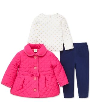 42010e9a0e2 Little Me Baby Girls 3-Pc. Quilted Jacket, Printed T-Shirt & Pants ...