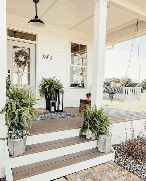 I like this open porch and the white/wood look but we will probably make ours more wheelchair accessible. Tis the season of summer days and outdoor spaces to enjoy them, so check out our fab collection of farmhouse style ideas for your porch. Home Porch, House With Porch, Cozy House, Farm House Porch, Porch Garden, Garden Sheds, Farmhouse Style, Farmhouse Decor, Farmhouse Plans