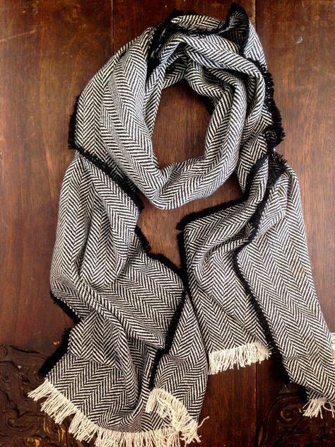 Mens Scarf - Black Herringbone Wool Scarf - Black Tweed Stole Large Winter Scarf Mens Fashion Accessories - Gift for Him - Made in England