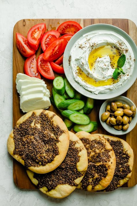 Ramadan recipes 519251032039591968 - Zaatar Manakeesh is a Mediterranean flatbread that's made with dough and zaatar spice. It's an easy recipe to make from scratch using very few ingredients! Lebanese Recipes, Lebanese Cuisine, Healthy Ramadan Recipes, Healthy Recipes, Arab Food Recipes, Bread Recipes, Easy Recipes, Gourmet, Eating Clean