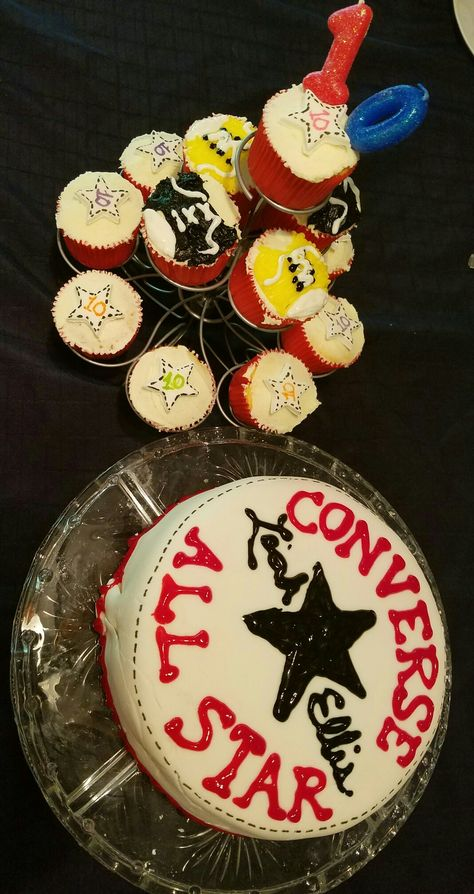 5c98db02d654a2 Cake! Converse Chuck Taylor themed cake and cupcakes 10th birthday ...