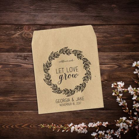 Wedding Seed Packets, Wedding Favor, Seed Packet #seedpackets #seedfavors #weddingfavors #weddingseedfavor #letlovegrow #weddingseedpackets #wildflowers #rusticwedding #bohowedding #customseedpackets #seedenvelopes #seedpacketfavor #kraftseedpackets