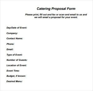 Catering Proposal Form Proposal Templates Event Planning