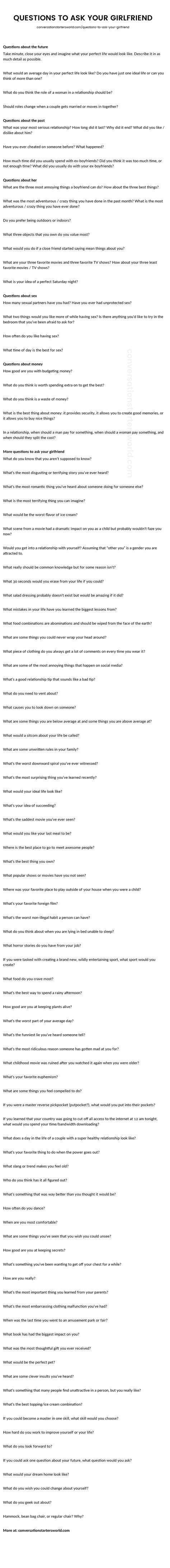 Great questions to ask your girlfriend