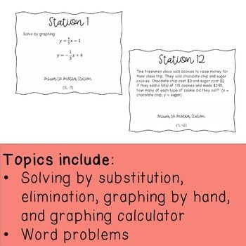 Systems Of Equations Stations Scavenger Hunt Systems Of