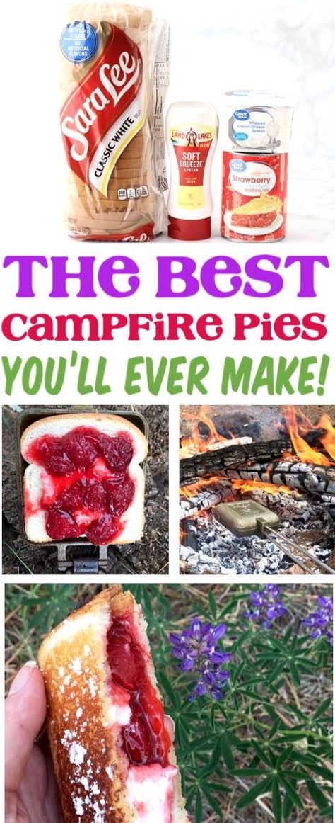 Strawberry Cheesecake Campfire Pudgy Pies make the perfect end to any day out in the woods! Plus this tasty pie is just 5 ingredients! Go grab the recipe and give it a try!, fully reflects the desired Camping Food Hacks and Ideas Dessert Party, Bon Dessert, Dessert Dishes, Camping Desserts, Camping Recipes, Good Camping Meals, Camping Food Pie Iron, Camping Food Recipes, Easy Camping Food