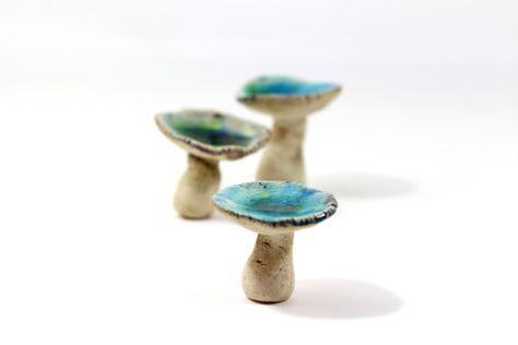 Ceramic mushrooms Miniature mushrooms Home by orlydesign on Etsy, $28.00