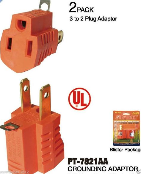 2 Pack UL Listed 1 To 3 Outlet Grounding Tap AC125V 15A