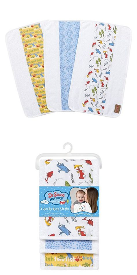 Two Fish 3 Pack Jumbo Burp Cloth Set Trend Lab Dr Red Seuss by One Fish Blue and White Green
