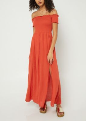 Burnt Orange Smocked Maxi Dress Maxi Dress Dresses Smocked Maxi Dresses