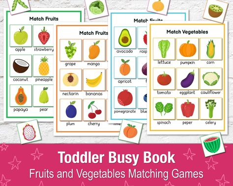Fruits Sorting Busy Book Printable, Fruits and Vegetables Busy Book, Toddler Learning Binder, Matching Game, Preschool Quiet Book, Busy Bag