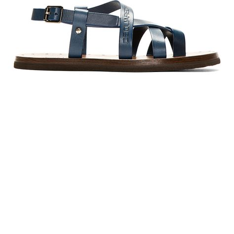 feac24c02503 Dsquared2 by  Blue Leather Cross-Strap Sandals