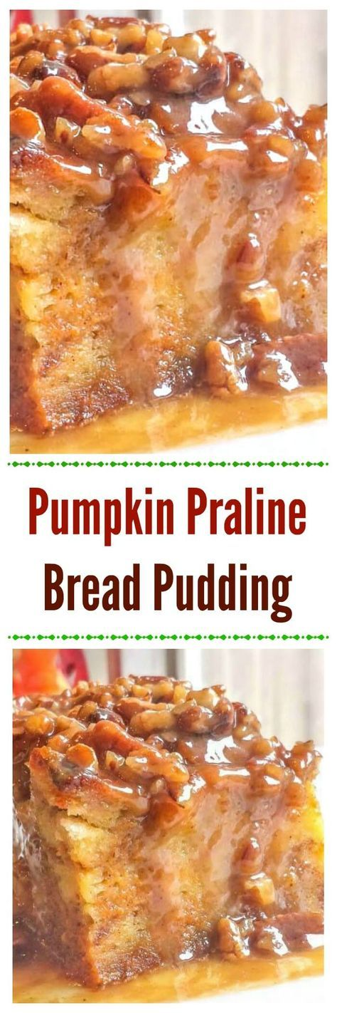Pumpkin Praline Bread Pudding makes an easy yet awesome Fall or Thanksgiving pumpkin dessert. via Pumpkin Praline Bread Pudding makes an easy yet awesome Fall or Thanksgiving pumpkin dessert. Fun Holiday Desserts, Thanksgiving Desserts, Holiday Recipes, Holiday Foods, Thanksgiving Turkey, Pudding Flavors, Bread Pudding Recipes, Pumpkin Custard, Pumpkin Bread Puddings