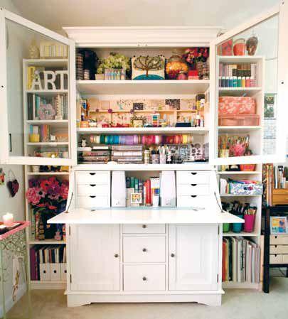 Craftroom Cupboard Orgainzation   An Old Armoire   Good Hidden Storage |  Craft Room Ideas | Pinterest | Armoires, Craft Storage And Craft
