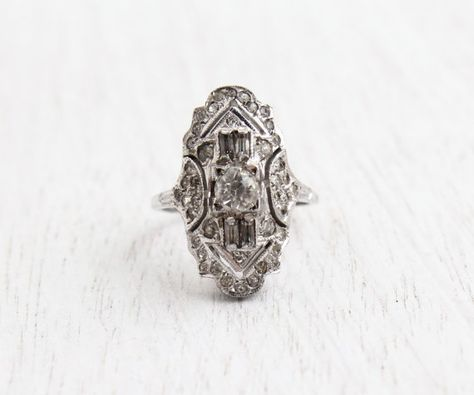 Vintage Ring Art Deco Ring Size 6 34 Victorian Mourning. Antique Ring