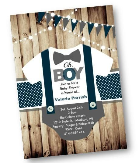 Onesie Boy Baby Shower Invitation - Rustic baby shower invite flyer for boys