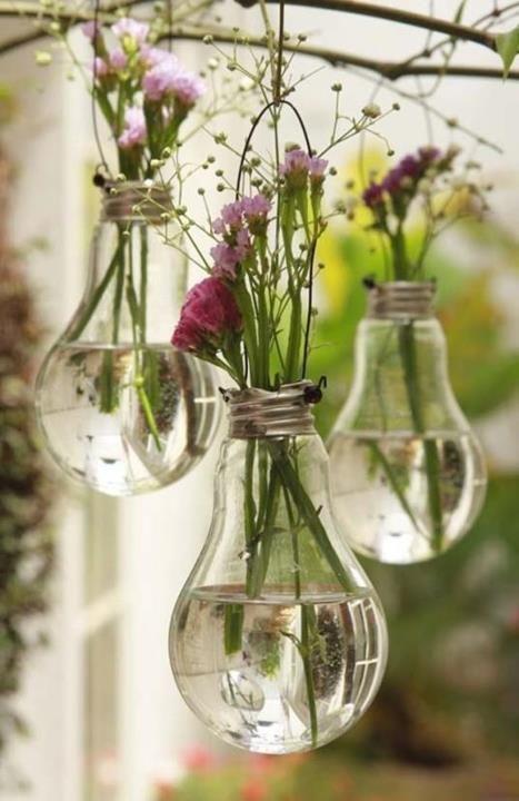 lampadine sospese, lampadine con fiori, idee giardino, idee casa, fai da te, DIY