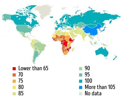 Average IQ level around the world