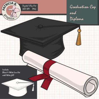 Free Graduation Cap And Diploma Tptclipart Teacherspayteachers Patriciabgraphics Graduation Cap Diploma Clip Art Freebies