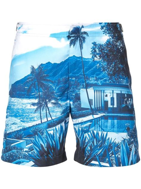 Orlebar Brown tropical print swim shorts – Blue Orlebar Brown Badeshorts mit tropischem Aufdruck – Blau This image has get.