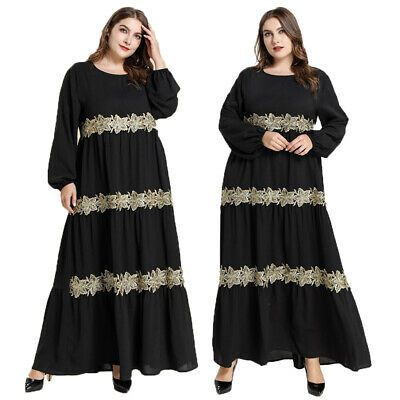 Women Kaftan Abaya Islamic Muslim Cocktail Long Sleeve Long Maxi Dress