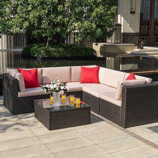 Wade Logan Baril 7 Piece Rattan Sunbrella Sectional Seating Group With Cushions Wayfair In 2020 Patio Sectional Seating Groups Outdoor Sectional Sofa
