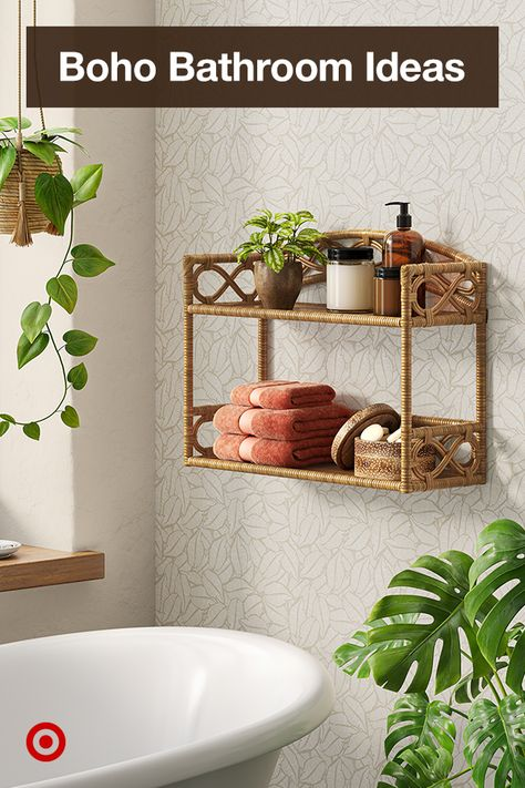 Design a small boho bathroom with floating shelves  add extra storage, even over the bathtub or toilet, that also doubles as decor.