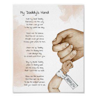 Hold My Hand Daddy Keepsake Poem Dad Gift Poster   Zazzle.com