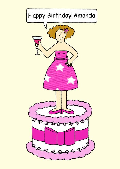 Happy Birthday Amanda Lady On A Cake Card With Images Happy