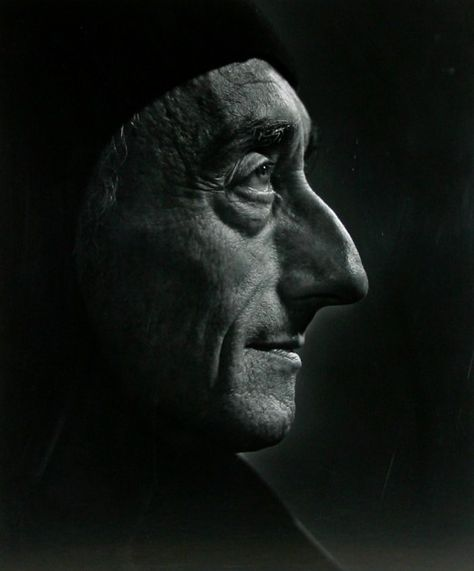 """Jacques Cousteau / Portrait by Yousuf Karsh / """"From birth, man carries the weight of gravity on his shoulders. He is bolted to earth. But man has only to sink beneath the surface and he is free."""""""