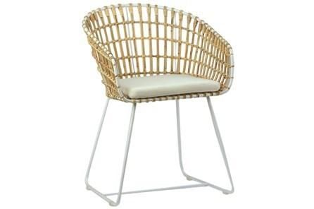 Iron Rattan Accent Chair With White Legs Chair Accent Chairs