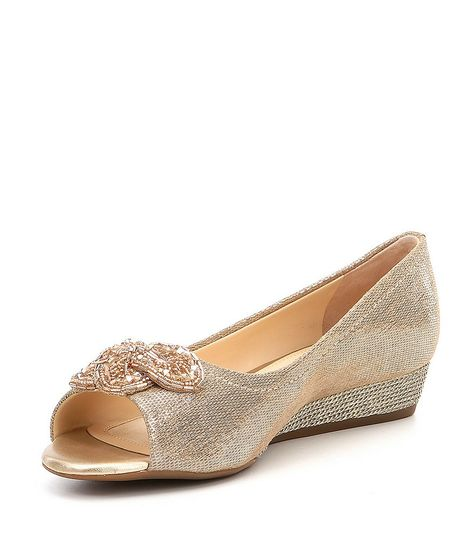 2340c21a47e23 Alex Marie Desirae Metallic Leather Beaded Ornament Peep-Toe Wedges ...