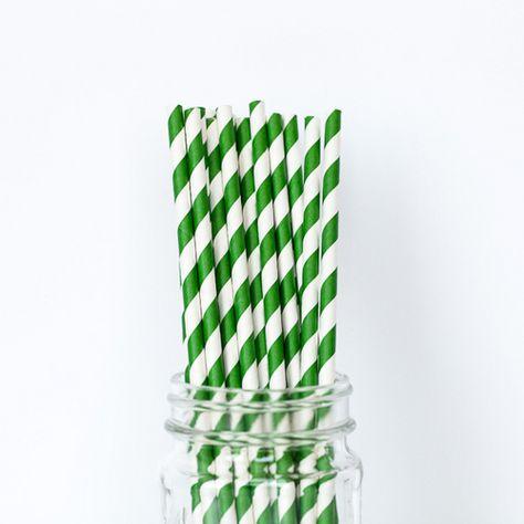 Emerald Green Striped Straws
