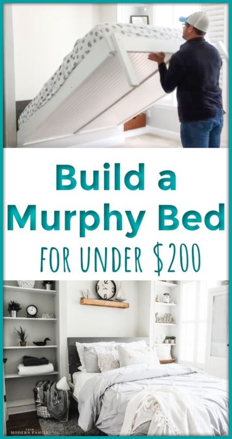 "Visit our site for even more details on ""murphy bed diy"". It is actually an outstanding location for more information. Build A Murphy Bed, Queen Murphy Bed, Murphy Bed Ikea, Murphy Bed Plans, Murphy Bed Office, Build In Bed, Guest Bedroom Office, Ikea Bedroom, Home Bedroom"