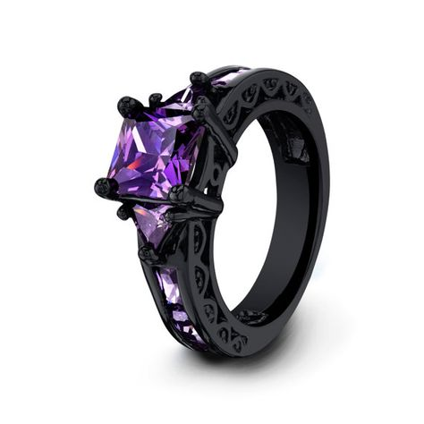 Black Ring For Her Womens Black Gold Filled Wedding by Sydneykimi