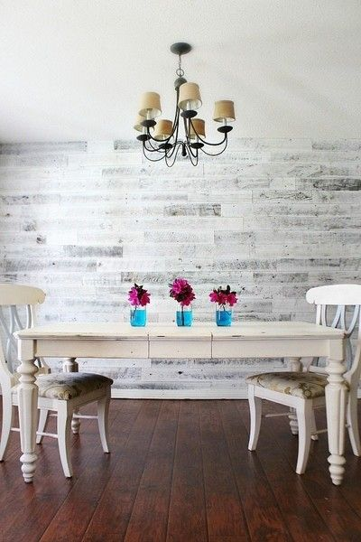 DIY Weathered White Wood Wall Treatment - Creative DIY Wall Decor Ideas - Photos
