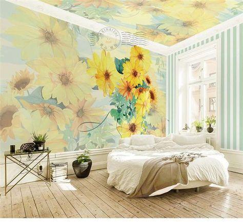 Northern European Sunflowers Wallpaper, Big Flowers Floral Wall Mural, Wall Art, Living and Dinning