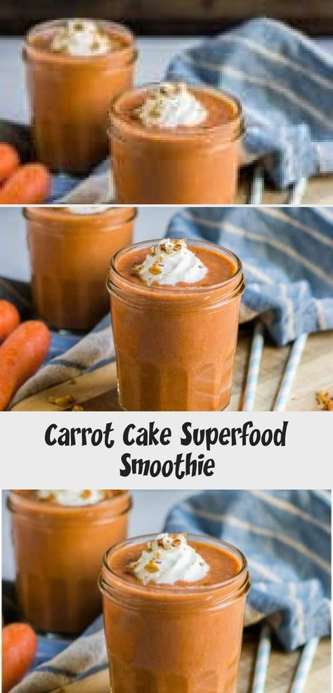 This Carrot Cake Superfood Smoothie is packed with the flavor of your favorite spice cake and full of energy boosting ingredients. A simple fall treat you will love! #smoothie #carrotcake #carrotcakesmoothie #carrots #superfood #easyrecipe #RaspberrySmoothie #AvocadoSmoothie #SmoothieRecepten #SmoothieRecette #SmoothieKiwi