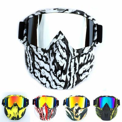Winter Snow Sports Ski Snowboard MTB Retro Full Face Mask Shield Goggles Glasses