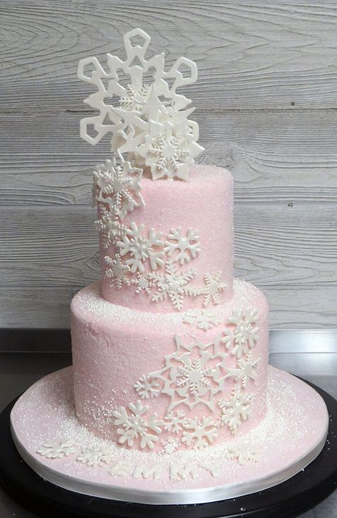 Pink Sugar-Frosted Snowflake Cake - Fancy That Cake - Pink Sugar-Frosted Snowflake Cake Pretty little pale pink cake for a birthday - covered with sugar and a few nonpareils, decorated with a cascade of snowflakes - First Birthday Winter, Winter Birthday Parties, Baby Girl 1st Birthday, 16th Birthday, Baby Cakes, Baby Shower Cakes, Sweet Cakes, Snowflake Baby Shower, Christmas Baby Shower