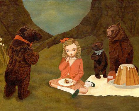 Children's Art, Girls Room Art, Nursery Art Girl, Girl Art Print, Fairytale Art, Poster, Kids - Goldilocks & The Three Bears 10x8 Print