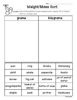 Weight Mass Sorting Worksheet Grams And Kilograms 2nd Grade