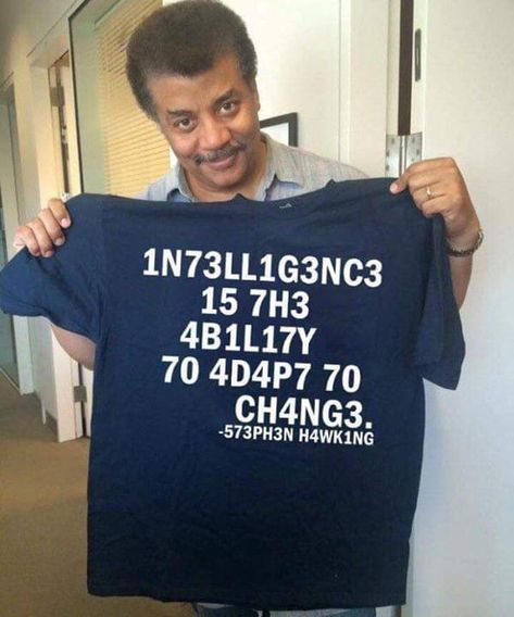 Intelligence Is The Ability To Adapt To Change Stephen Hawking Code Cotton T Shirt - Standard Hoodie / Navy / XL