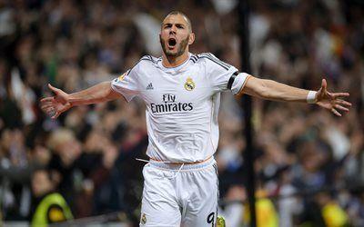 كريم بنزيمة الهدف ريال مدريد نجوم كرة القدم المباراة Real Madrid Football Real Madrid Mens Tshirts