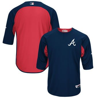 Atlanta Braves Majestic Authentic Collection On Field 3 4 Sleeve Batting Practice Jersey Navy Red Team Sports Apparel Sports Gear Sport Fitness