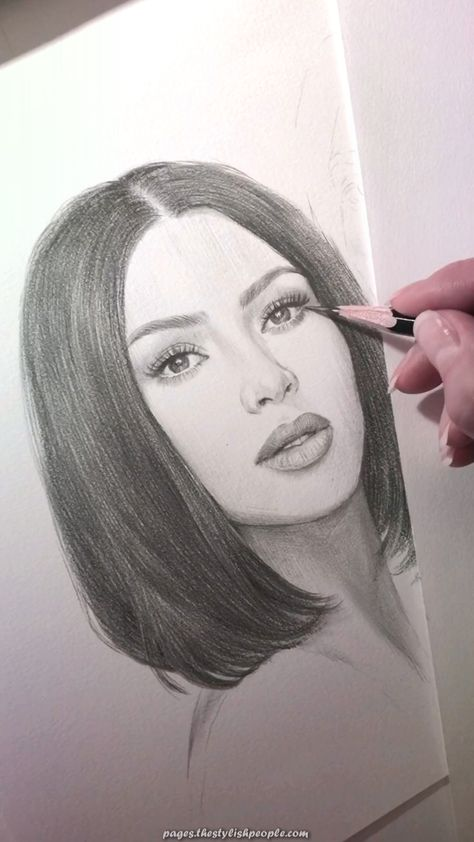 Fantastic A pencil portrait of Kim Kardashian.  #kardashian #pencil #portrait